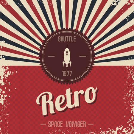 Foto de retro space rocket template theme vector art illustration - Imagen libre de derechos