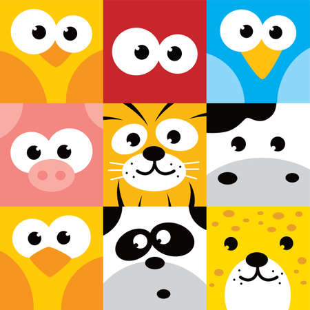 Illustration pour square animal face icon button set vector illustration - image libre de droit