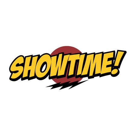 Illustration pour showtime text with thunder theme design - image libre de droit