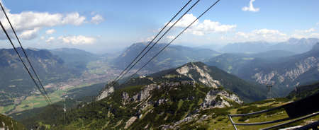 Garmisch-Partenkirchen, city of the Olympics 1936, in the german Alps, seen from the cable car to mount Alpspitze