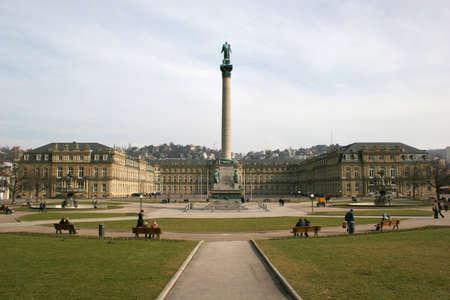 Square Schlossplatz and Neues Schloss (new castle) of the german city Stuttgart