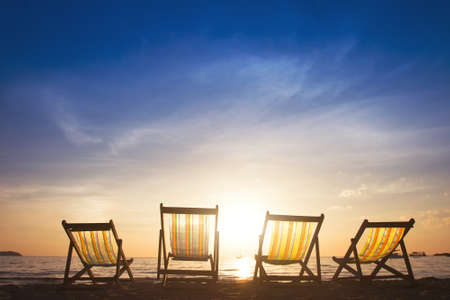 beach chairs at sunset, group tours