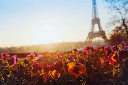Photo pour spring in europe, Eiffel tower unusual view, Paris, France - image libre de droit