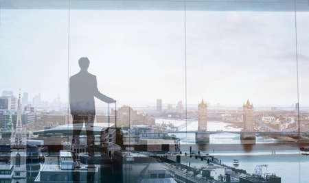 Photo pour double exposure view of abstract business traveler - image libre de droit