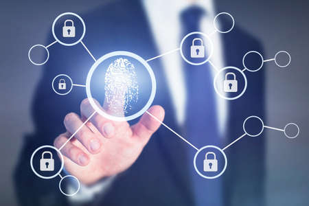 Photo pour Fingerprint authorization access concept, personal data information security - image libre de droit