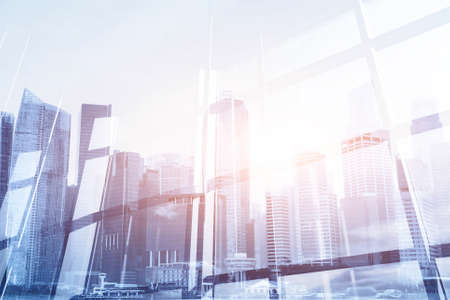Photo for abstract business modern background with cityscape double exposure - Royalty Free Image