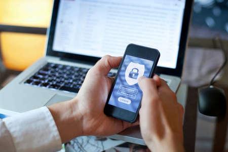 Photo pour data security concept, mobile application access, login and password - image libre de droit