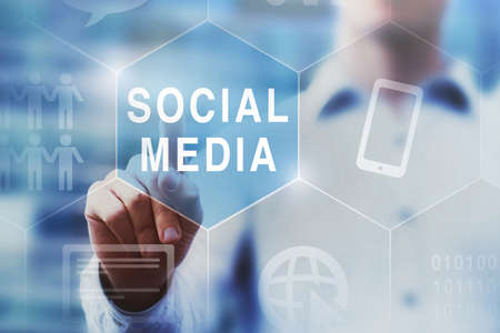 Photo for social media concept on touch screen - Royalty Free Image