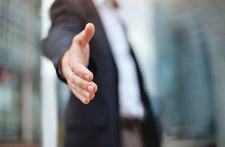 Photo pour business deal proposal, recruitment, businessman offer hand for handshake and cooperation - image libre de droit