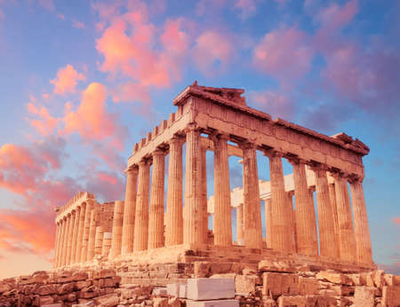 Photo for Parthenon temple on a sunset with pink and purple clouds. Acropolis in Athens, Greece - Royalty Free Image