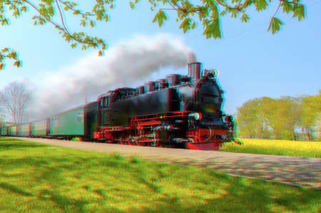 Historical German steam train in spring, Rugen, Germany, 3d anaglyph effect