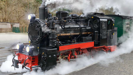 Photo pour Historical steam train on end station in Gohren, island Rugen, Germany - image libre de droit
