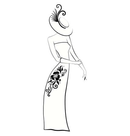 Illustration of young woman in evening gown..