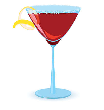 illustration of cosmopolitan cocktail on white background