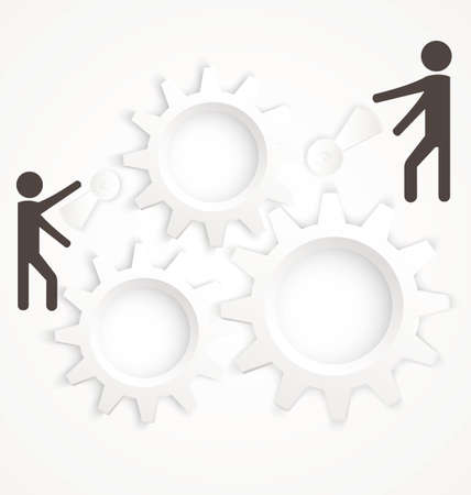 Vector illustration of abstract team work concept with cog wheels on white