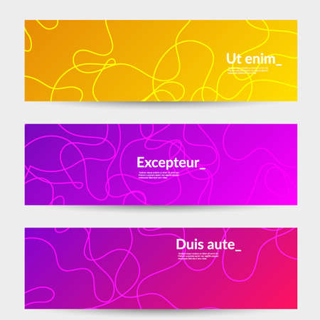 Illustration pour Abstract banner templates with curvy lines on bright gradient. Wavy  background. - image libre de droit