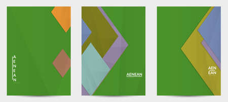 Abstract vector flyer template with folded paper overlapping geometric shapes. Environmental design with cut out geometric objects made of recycled reused paper. Top view geometric pattern.