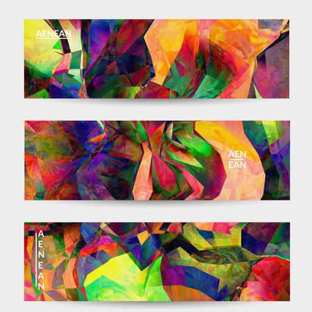 Foto de Multicolored wavy pattern overlapping gradient  filtered shapes. Vibrant light effect stained glass window or cubism art painting banner template. Abstract vector template for marketing technologies. - Imagen libre de derechos