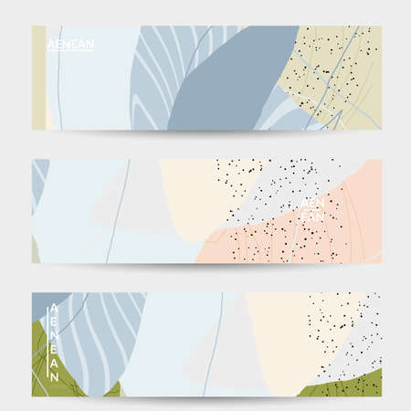 Photo pour Minimal abstract vector banner template. Organic grunge textured overlapping wavy shapes and lines. Scribbled hand drawn pastel colored background. Striped dotted leaf forms. Contemporary design. - image libre de droit