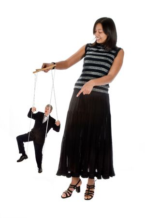 Young employee with her boss on strings