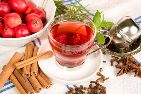 Tea, apples, herbs, cinnamon and star anise