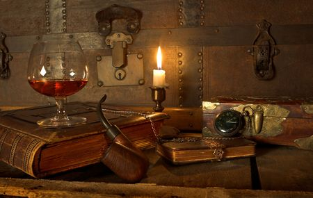 A good old book, a glass of cognac and my pipe