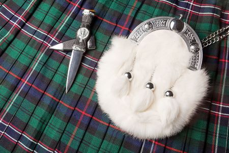 Rabbit fur sporran purse and sgian dubh knife on a scottish kilt