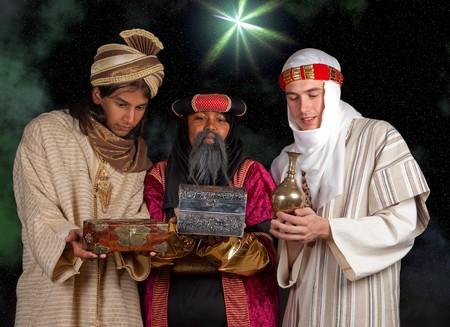 Wisemen Caspar Melchior and Balthasar and their gifts for Jesus