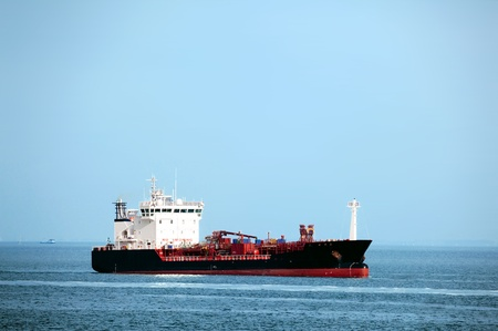 Huge tanker ship at sea - all brands and names removed