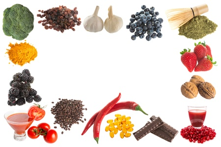 Border frame image of healthy antioxidants on a white background