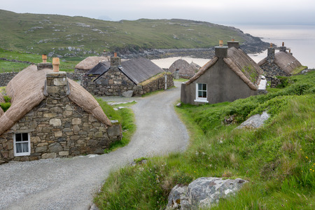 Village of ancient blackhouses on the Isle of Lewis, Outer Hebrides in Scotland