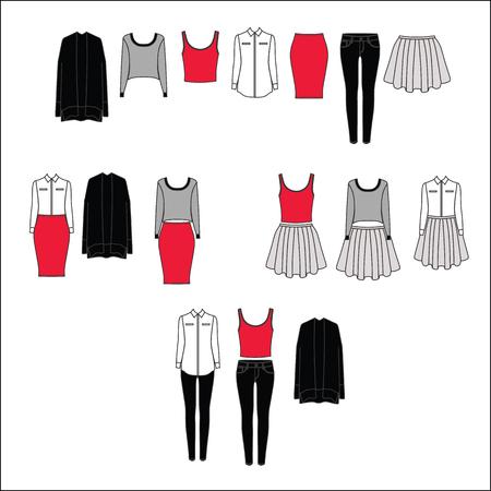 Illustration pour Basic wardrobe. Sets of clothes. Pants. Skirt. Top. Blouse. Cardigan. - image libre de droit