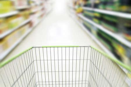 blurred supermarket cart background