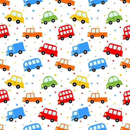 Illustration pour seamless pattern colorful transport cute car cartoon style isolated on white background. illustration vector. - image libre de droit