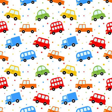 Ilustración de seamless pattern colorful transport cute car cartoon style isolated on white background. illustration vector. - Imagen libre de derechos