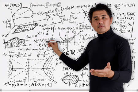 Foto de Mature professor teaching mathematics to students in classroom. Teacher man solving math problem while writing on white board with video conference. Covid-19 learn from home. - Imagen libre de derechos