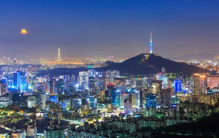 Photo for Seoul City Skyline and N Seoul Tower  in Seoul South Korea - Royalty Free Image