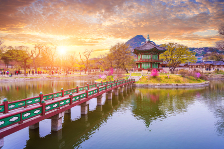 Photo for Gyeongbokgung palace in spring, South Korea. - Royalty Free Image