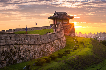 Photo for Korea landmark and park after sunset, Traditional Architecture at Suwon, Hwaseong Fortress in Sunset, South Korea. - Royalty Free Image