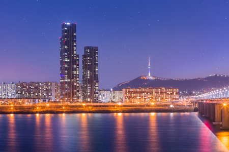 Korea landmark and bridge and Han river,n seoul tower at night,  South Korea.