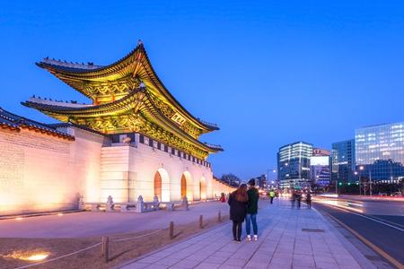 Foto für Gyeongbokgung Palace, front of Palace gate in downtown Seoul, South Korea. Name of the Palace 'Gyeongbokgung' - Lizenzfreies Bild