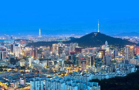 Photo pour Seoul city and n seoul tower and Skyscrapers, Beautiful city at night, South Korea. - image libre de droit