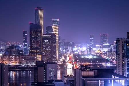 Photo for seoul city and skyscraper, yeouido at night, south korea.  - Royalty Free Image