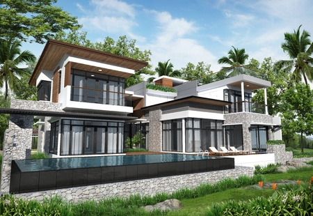 3D render of building tropical modern pool house in thailand