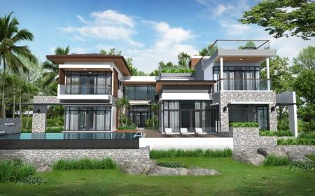 Foto de 3D of building tropical modern pool house  - Imagen libre de derechos
