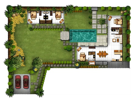 3d Proposal of planning house with with green area