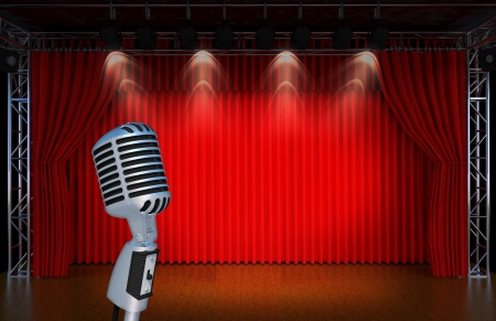 vintage microphone on Theater stage with red curtains and spotlights  Theatr ical scene in the light of searchlights, the interior of the old theater