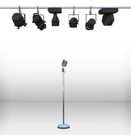 vintage microphone on white room
