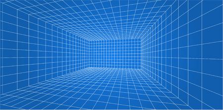 Illustration pour 3D Wire-frame grid room - Vector illustration. - image libre de droit