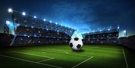 Photo pour lights at stadium with Soccer ball. Sport background. 3d render - image libre de droit